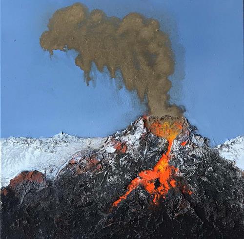 Maria und Wolfgang Liedermann, Vulkan 4, Landschaft: Berge, Natur: Feuer, Gegenwartskunst
