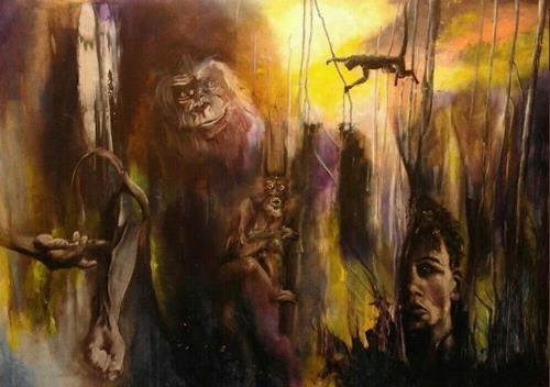 Edeldith, Im Jahr des Affen, Fantasie, Menschen: Mann, expressiver Realismus, Abstrakter Expressionismus