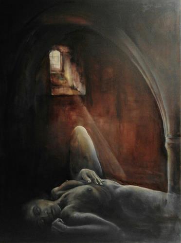 Edeldith, Danae, Mythologie, Akt/Erotik: Akt Frau, expressiver Realismus