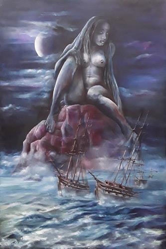 Edeldith, Das Schweigen der Loreley, Mythologie, Fantasie, Symbolismus, Abstrakter Expressionismus