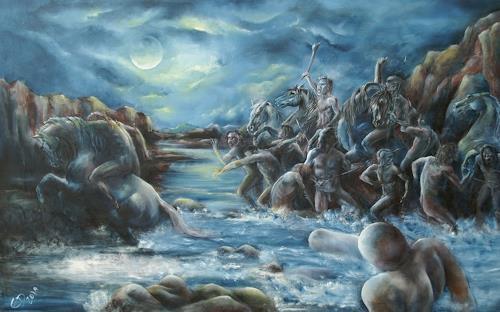Edeldith, Durchbruch am Rubikon, Menschen, Mythologie, Realismus, Abstrakter Expressionismus