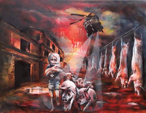 Edeldith, Flucht von Alcatraz, Tiere, Menschen, Symbolismus, Abstrakter Expressionismus