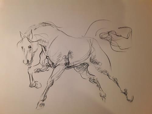 Edeldith, Zeichnung Pferd, Tiere, Gefühle, Abstrakte Kunst, Expressionismus