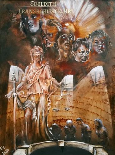 Edeldith, Tag des Gerichts / Judgment day, Gesellschaft, Krieg, Postsurrealismus, Abstrakter Expressionismus