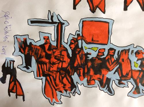 eugen lötscher, sternen zürich oerlikon, august 2014, Menschen: Gruppe, Gesellschaft, Gegenwartskunst