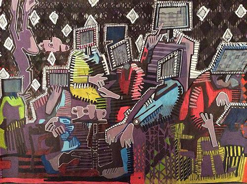 eugen lötscher, Screen Age Black Out, 21. februar 2015, Diverse Menschen, Gesellschaft, Gegenwartskunst, Abstrakter Expressionismus