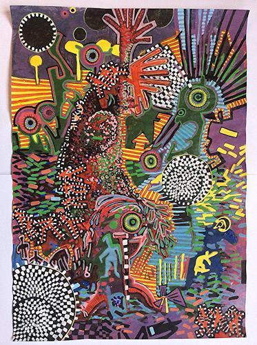 eugen lötscher, der besuch ferner verwandter, 28. november 2014, Diverse Weltraum, Gesellschaft, Gegenwartskunst, Abstrakter Expressionismus