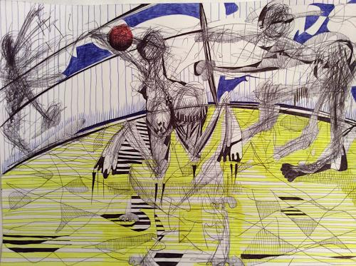 eugen lötscher, beach volley, 10. april 2015, Sport, Spiel, Gegenwartskunst, Abstrakter Expressionismus