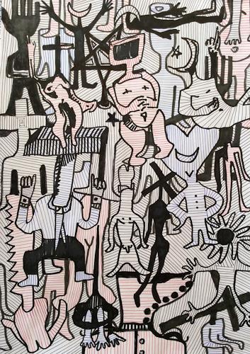 eugen lötscher, obsession with humans, 17. dezember 2014, Menschen, Menschen, Gegenwartskunst, Abstrakter Expressionismus