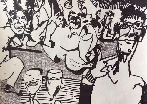 eugen lötscher, flohmarkt mit Philip, 12. september 2015, Markt, Menschen, Gegenwartskunst, Abstrakter Expressionismus