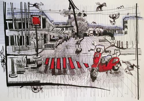 eugen lötscher, stadtgeflüster, 31. august 2012, Poesie, Diverse Landschaften, Gegenwartskunst, Abstrakter Expressionismus