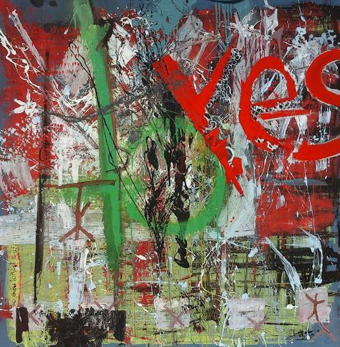 eugen lötscher, yes, 2017, Menschen, Menschen, Abstrakte Kunst