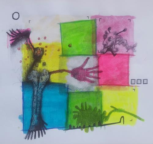 eugen lötscher, figuren, Menschen: Porträt, Poesie, Gegenwartskunst, Abstrakter Expressionismus
