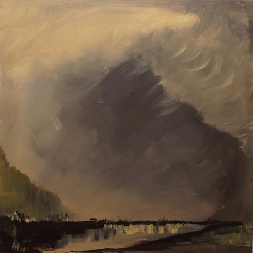 Remo Passeri, der Sturm naht, Landschaft, Abstrakte Kunst, Abstrakter Expressionismus