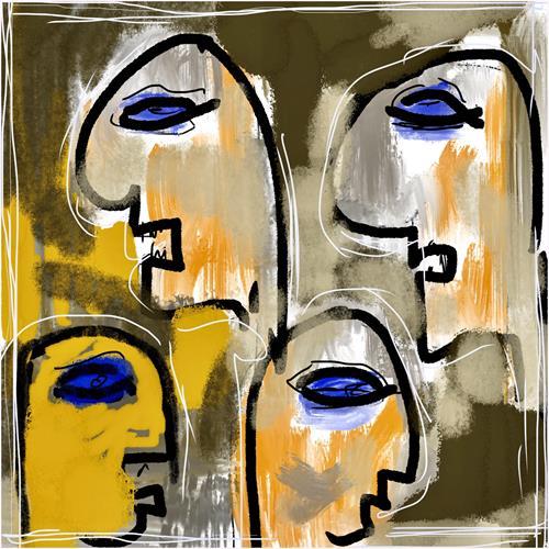 Remo Passeri, alle reden - niemand hört zu..., Gesellschaft, Menschen: Gesichter, Abstrakte Kunst, Abstrakter Expressionismus