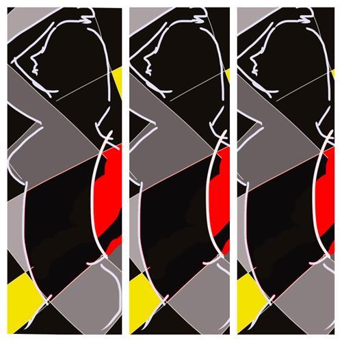 Remo Passeri, tre donne, Akt/Erotik, Abstrakte Kunst