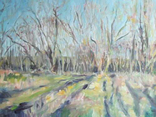 Barbara Schauß, Frühling am Bach, Landschaft: Frühling, Impressionismus