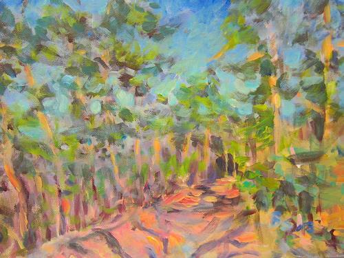Barbara Schauß, Waldweg im Frühjahr, Landschaft, Natur: Wald, Impressionismus