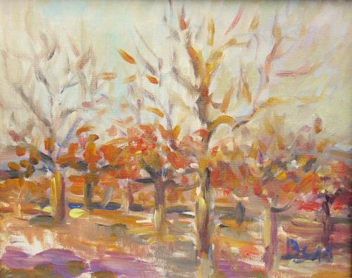 Barbara Schauß, Apfelbäume im Herbst, Diverse Landschaften, Natur, Postimpressionismus