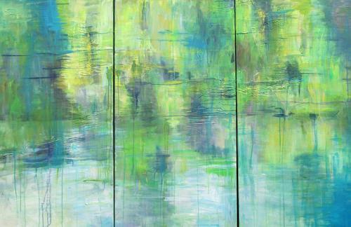 Barbara Schauß, Flusslandschaft, Natur: Wasser, Diverse Landschaften, Postimpressionismus