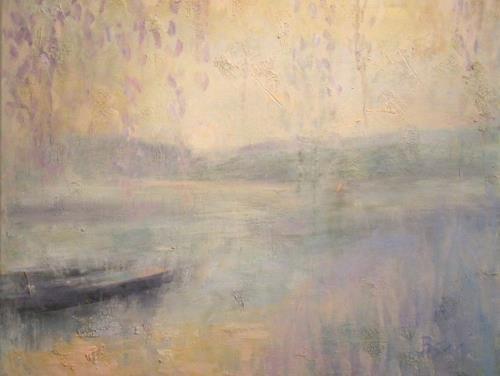 Barbara Schauß, Morgenstimmung am Fluss, Diverse Landschaften, Natur: Wasser, Postimpressionismus