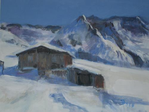 Barbara Schauß, Hüttenzauber I, Natur, Landschaft: Berge, Gegenwartskunst