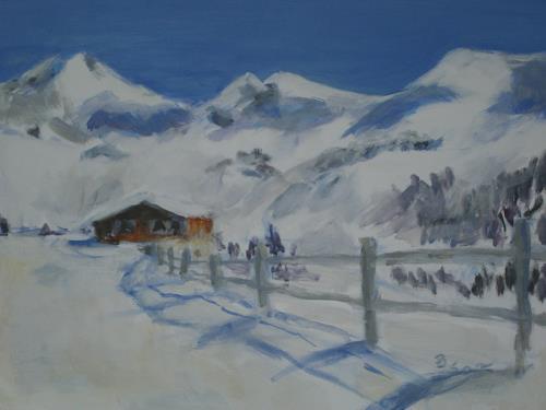Barbara Schauß, Hüttenzauber II, Natur, Landschaft: Berge, Gegenwartskunst