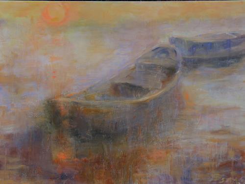 Barbara Schauß, Abendstimmung, Landschaft: See/Meer, Natur, Impressionismus, Expressionismus
