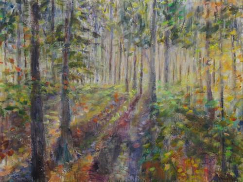Barbara Schauß, Im Wald, Landschaft, Natur: Wald, Impressionismus, Expressionismus