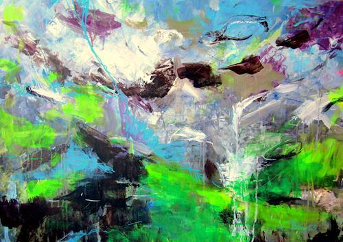 Barbara Schauß, bridal veil, Landschaft, Abstraktes, Gegenwartskunst, Abstrakter Expressionismus