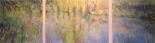 Barbara Schauß, Teichlandschaft, Diverse Pflanzen, Natur, Impressionismus