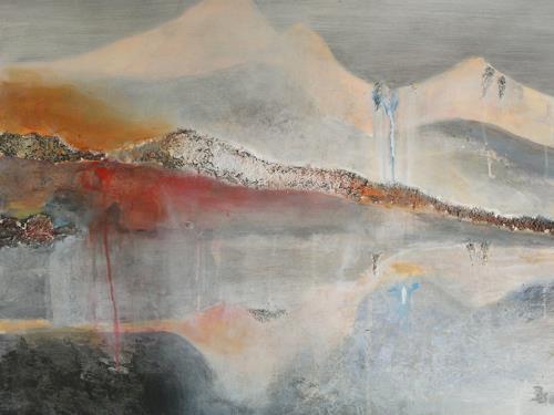 Barbara Schauß, Gletschersee, Landschaft: Berge, Landschaft: See/Meer, Gegenwartskunst, Expressionismus