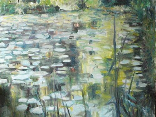 Barbara Schauß, Seerosenteich, Diverse Landschaften, Natur: Wasser, Impressionismus, Expressionismus