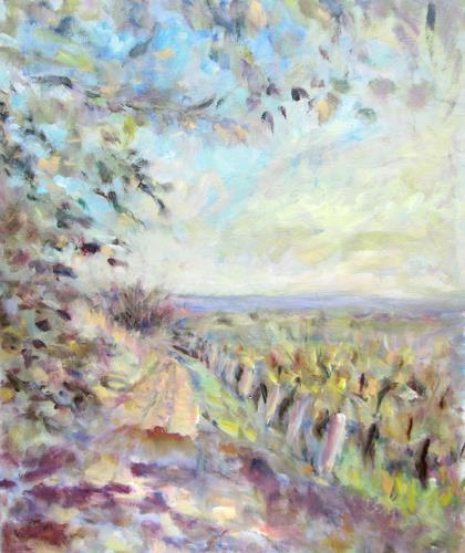 Barbara Schauß, Sommer im Weinberg, Landschaft, Natur, Impressionismus