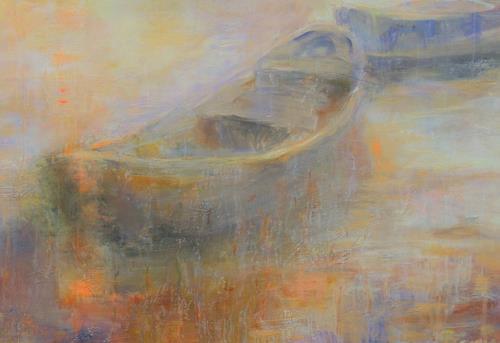 Barbara Schauß, Abendstimmung Detail, Landschaft, Natur, Impressionismus, Expressionismus