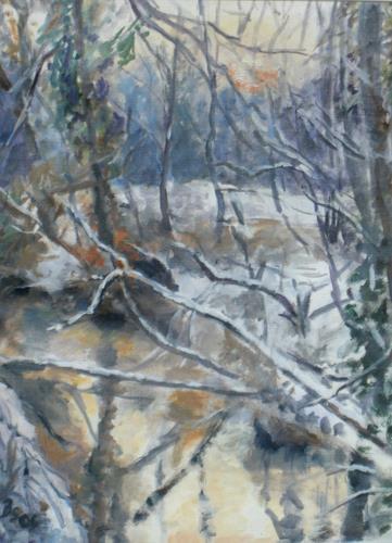 Barbara Schauß, Winter an der Pfrimm, Landschaft, Natur, Impressionismus, Expressionismus