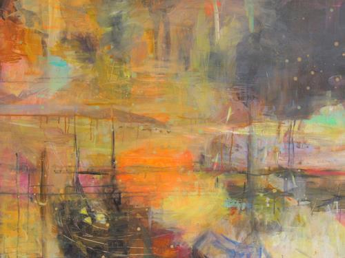 Barbara Schauß, Sommerabend, Diverse Landschaften, Abstraktes, Gegenwartskunst, Expressionismus