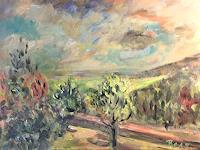 Barbara-Schauss-1-Landschaft-Herbst-Landschaft-Huegel-Moderne-Impressionismus-Neo-Impressionismus