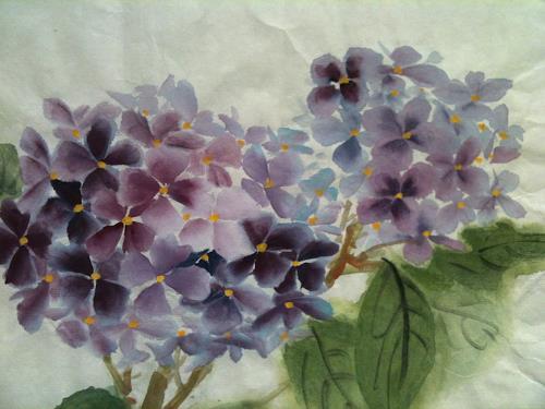 Jean, Hortensien, Pflanzen: Blumen, Gegenwartskunst, Expressionismus