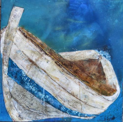 Magdalena Oppelt, Azzurro, Natur: Wasser, Verkehr: Schiff, Konkrete Kunst, Expressionismus