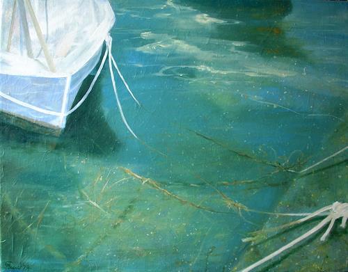 Claire Mesnil, The Boat, Freizeit, Natur: Wasser, Gegenwartskunst, Expressionismus
