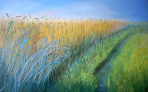 Claire Mesnil, Fields Of Gold, Landschaft: Sommer, Neue Figurative Malerei, Expressionismus