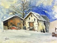 ALEX-BECK-Landschaft-Winter-Bauten-Haus-Neuzeit-Realismus