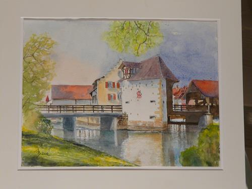 ALEX BECK, Reussbrücke, Bremgarten/AG, Landschaft: Sommer