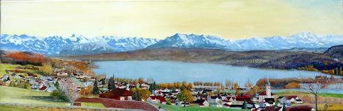 ALEX BECK, Hallwilersee mit Alpenpanorama, Landschaft: Herbst, Landschaft: See/Meer, Realismus, Expressionismus