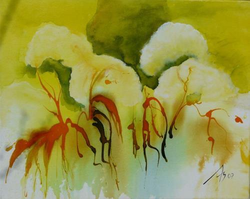 ALEX BECK, Blumen mit goldenen Tränen, Pflanzen: Blumen, Moderne, Expressionismus