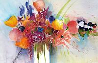 ALEX-BECK-Pflanzen-Blumen-Dekoratives-Moderne-expressiver-Realismus