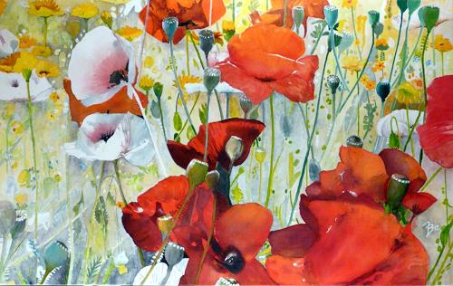 ALEX BECK, Mohnblumenwiese, Pflanzen: Blumen, Romantik, Realismus