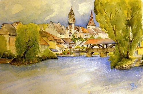 ALEX BECK, Bremgarten mit Holzbrücke über die Reuss, Wohnen: Stadt, Diverse Bauten, Gegenwartskunst