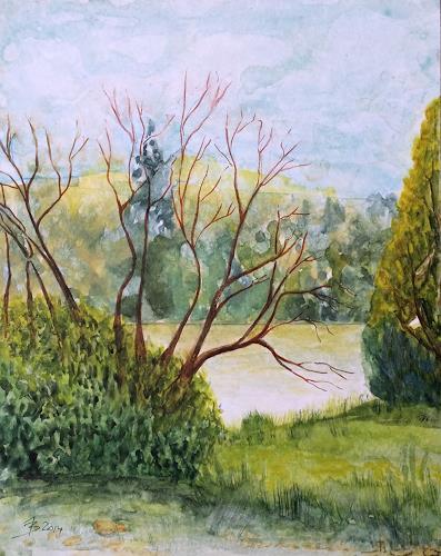 ALEX BECK, Sinfonie in Grün, Landschaft: See/Meer, Pflanzen: Bäume, Realismus